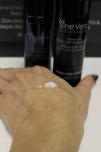 Showing of the Malbec Midnight Cream and Serum on my hand