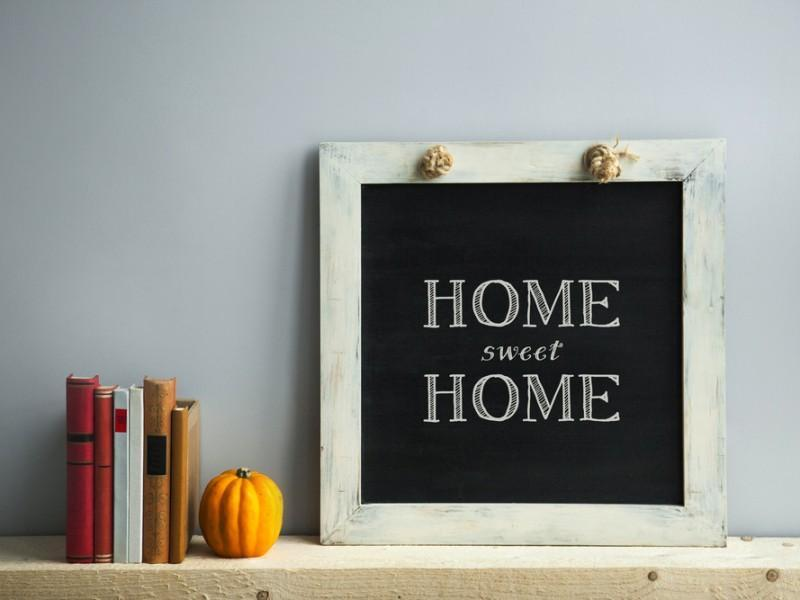 Chalkboard with 'Home Sweet Home' written on it