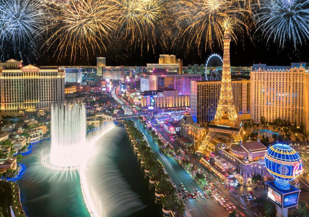 LAS VEGAS, USA - JANUARY 1, 2018: New Year fireworks on Las Vegas Strip on January 1, 2018 in Las Vegas, USA. The Strip is home to the largest hotels and casinos in the world.