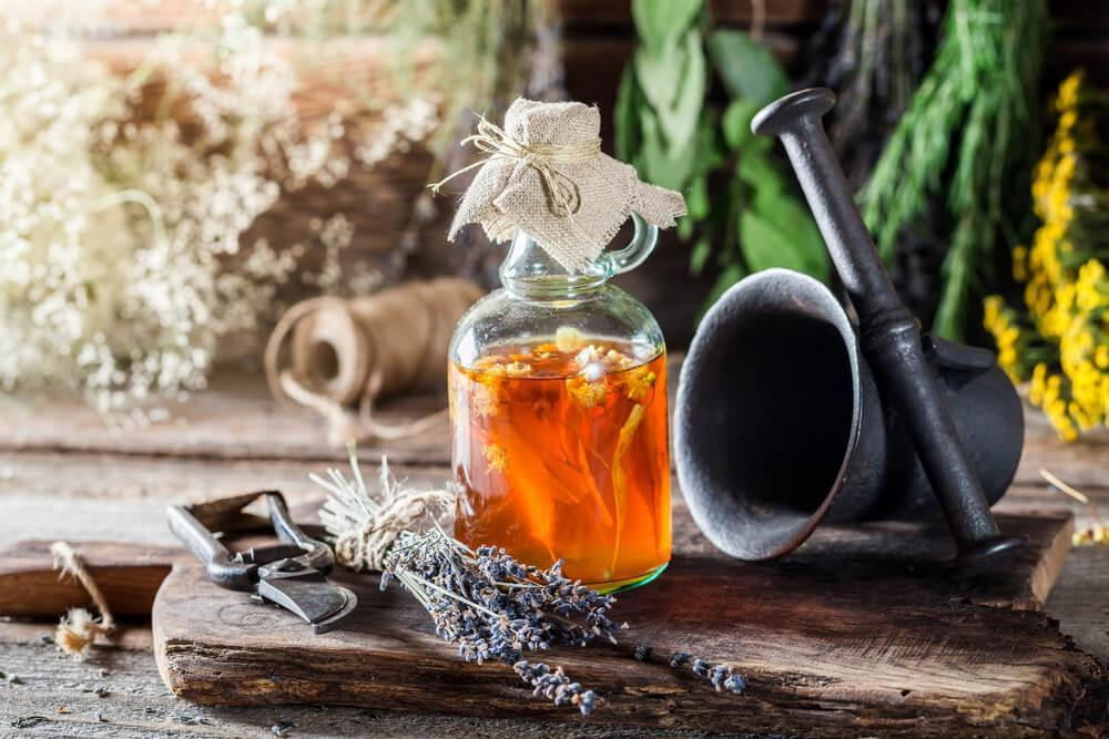 Jar of infused honey