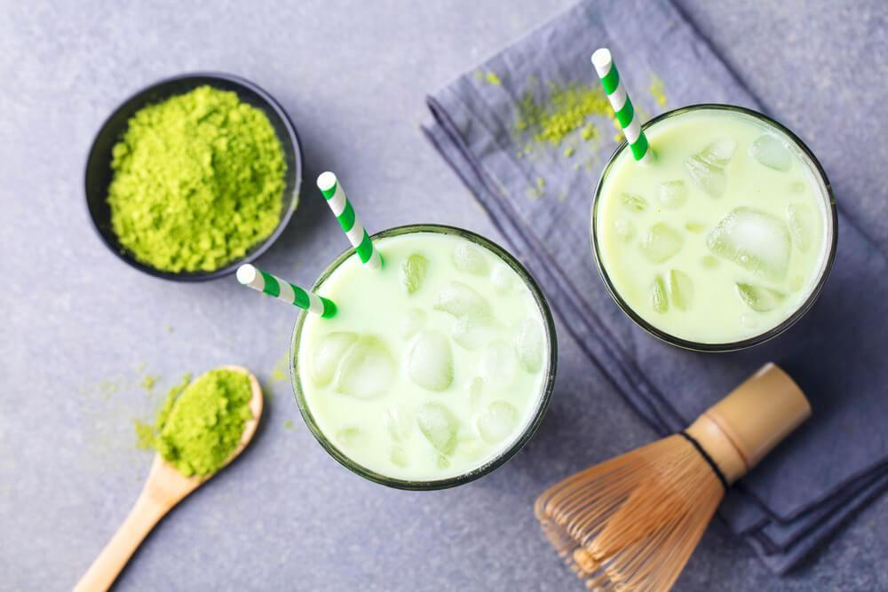 Flatlay of matcha-infused drinks