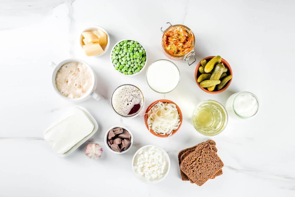 Probiotic foods in bowls